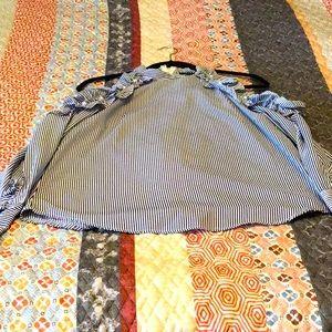 Strut & Bolt, blue striped Cold Shoulder Blouse